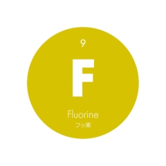 元素記号缶バッジ9【F フッ素】