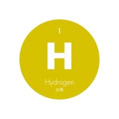 元素記号缶バッジ1【H 水素】